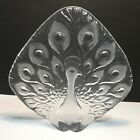 Mats Jonasson Sweden Crystal Hand Etched Glass Peacock Sculpture Signed