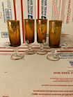 Lot of 4 Cordial Glass Amber Gold Lace Trim and Glass Handle VG condition