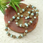 Vintage Faux Turquoise Glass Bead Brass Filigree 25 3 4 Necklace