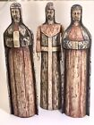 VTG Hand Carved WOOD SCULPTURE THREE KINGS WISE MEN CHRISTMAS NATIVITY