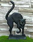 Vintage Black Kitty Cat Doorstop Cast Iron Glass Eyes Arched Back Halloween Goth