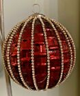 Large Red Glass Ornament Decorated With Hand Applied Rhinestones