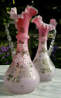 Pair of Antique Cased Satin Pink Art Glass Ewers Vases Hand Enamelled 10tall
