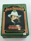 Vintage Jack Daniels Old Time Tennessee Whiskey Tin Box Bottle 2Glass Set No7