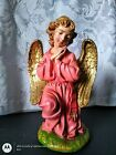 RARE Vintage FONTANINI Nativity Large Pink ANGEL 12 Scale Paper Mache ITALY