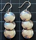 Native American 925 Sterling Silver Earrings 3 Tier Concho Stamped Polished 2