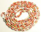 Vintage Art Deco LONG Czech Mottled Red End of Day Art Glass Bead Necklace 55