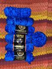 Lion Brand Yarn  CHENILLE THICK  QUICK Royal Blue 6+ Skeins 700+ Yards