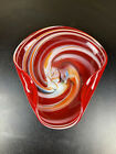Vintage Original Lutetian Glass Dish Ashtray Plate Tray Bowl Red Hand Blown