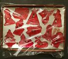 Vintage Red Plastic Fortress Christmas Cookie Cutters 12Pc Manger Scene Nativity