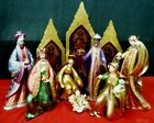 RARE Bombay Company Large Nativity Set with Stained Glass Screen Figures NEW NOS