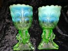 Antique Northwood Green Opalescent Beads and Bark Chalice Vase Pair EAPG 1903