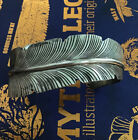Native American Navajo Sterling FEATHER CUFF bracelet Ray Silver Signed S RAY