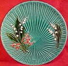 ANTIQUE GERMAN MAJOLICA Pottery PLATER SCHRAMBERG SMF Lily of the Valley gm263