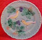 VINTAGE GERMAN MAJOLICA PLATE ZELL birds & grapes 6