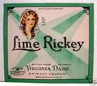 Vintage Virginia Dare Lime Rickey Soda Label Brooklyn