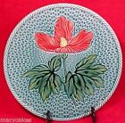 ANTIQUE GERMAN MAJOLICA Hibiscus Blue & Red PLATE ZELL c. 1907-1928, gm376