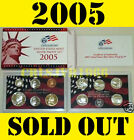 2005 US MINT SILVER PROOF SET WITH 50 STATE STATEHOOD QUARTERS 11 COINS+BOX+COA