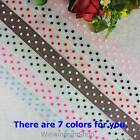 5 YDS 1 25mm Popular and Classic Polka Dot on White Pink Brown Organza Ribbon