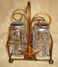 Unique Country Wedding Set Salt & Pepper Shakers Classic Copper Barn Star Caddy