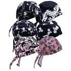 New 6pc Assorted Cotton Motorcycle Skull Cap Set Doo Rag Biker Bandana Head Wrap