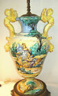 Italian Art Pottery Huge Lamp Pauls Italy Majolica Angels 42 Vintage Faience