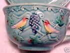 Blue VINTAGE GERMAN MAJOLICA CUP SAUCER ZELL BIRDS and Grapes, gm312