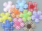 80 Padded Felt Gingham Flower Appliques 1 25mm Multi Color A232