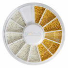 12 Colors Silver Gold Steel Ball Bead Wheel Tips Nail Art Decoration Manicure