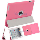 Slim Magnetic PU Smart Leather Cover with Hard Back Shell Case for iPad 2 PInk