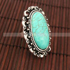 Beautiful Large Oval Lace Turquoise Adjustable Rings