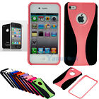Pink Hybrid Hard Skin Case Cover for Apple iPhone 4 4G 4S + Screen Protector