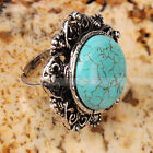 Elegant Plum Flower-shaped Blue Turquoise Adjustable Rings free shipping