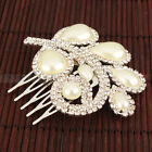 Pretty Leaf Style Man-Made Pearl inlay Bridal Hair Comb