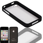 New Plastic+TPU Hard Case for iPhone 4 4G 4S Clear Back and Black Side