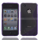 New S Shape TPU Skin Hard Cover Case for Apple iPhone 4 4G Grey