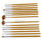 15pcs Nail Art Painting Pen Brush Set with Synthetic Hair Golden Handle