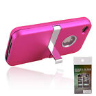 Deluxe Hard Case Cover Chrome Stand for iPhone 4 4S Rose Red + Screen Protector