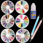 6Pcs Mixed Nail Art Glitter Tips Rhinestone+2Pcs Spot Drilling+ 1Pcs Nail Glue