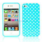 New Blue + white Small Polka Dots Silicone Case Cover Skin for iPhone 4 4G 4S 4G