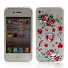 Crystal Diamond Pink Hearts Flower Hard plastic cover case for iphone 4 4g 4th