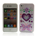 Crystal Diamond Hearts + Butterfly Hard plastic cover case for iphone 4 4g 4th