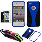 Blue Hybrid Hard Skin Case Cover for Apple iPhone 4 4G 4S + Screen Protector