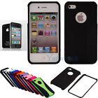 Black Hybrid Hard Skin Case Cover for Apple iPhone 4 4G 4S + Screen Protector