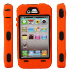New Hard Silicone + Plastic Case Cover for iPhone 4 4S Orange + Black