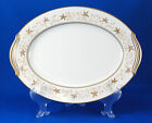 Noritake WARWICK 6121 Oval Serving Platter 11.875 in. Gold Leaves Trim Scrolls