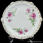 Sevres China 1900-1908 Pink Rose Plate Gilded Scalloped Edge USA Marked Antique