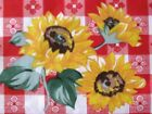 RED CAFE CHECK GINGHAM SUNFLOWER WESTERN BBQ COUNTRY PICNIC SEWING FABRIC BTHY