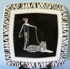 ITALIAN CERAMICS COMPANY ICC WILD CATS 1 DINNER PLATE SQUARE STRIPES TIGER LADY
