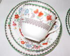 Spode Chinese Rose Pattern Trio Cup, Saucer, Dessert Plate Set Vintage Green/Wht